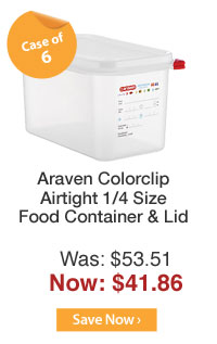 Araven Colorclip Airtight 1/4 Size Food Container & Lid