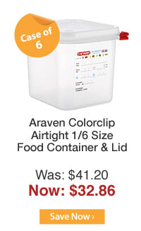 Araven Colorclip Airtight 1/6 Size Food Container & Lid