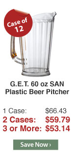 G.E.T. 60 oz SAN Plastic Beer Pitcher